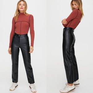 Wilfred NWOT high rise faux leather pants size 2